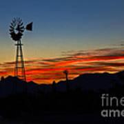 Windmill Silhouette Art Print by Robert Bales