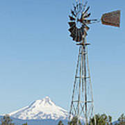 Windmill With Mount Jefferson In Central Oregon Art Print