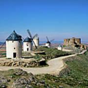 Windmills At La Mancha, Spain Art Print