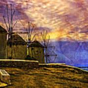 Windmills In Mykonos Art Print