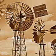 Windmills In Sepia Art Print