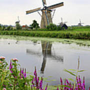 Windmills Of Kinderdijk With Flowers Art Print