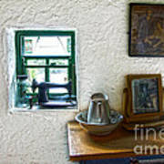 Window And Little Dressing Table In An Old Thatched Cottage Art Print