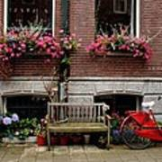 Window Box Bicycle And Bench  -- Amsterdam Art Print