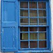 window in blue - British style window in a mediterranean blue Art Print