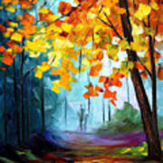 Window To The Fall - Palette Knife Oil Painting On Canvas By Leonid Afremov Art Print