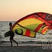 Windsurfer At Sunset Art Print