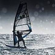 Windsurfing With Water Drops On Camera Art Print