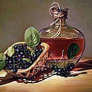 Wine And Berries Art Print by Natasha Denger