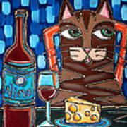 Wine And Cheese Cat Art Print
