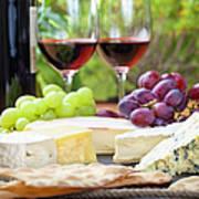 Wine And Cheese Platter Art Print