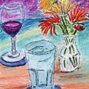 Wine And Flowers 2 Art Print