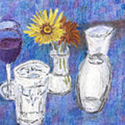 Wine And Flowers Art Print by William Killen