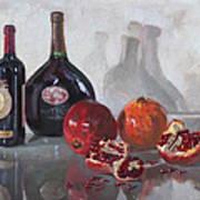 Wine And Pomegranates Art Print