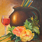 Wine And Poppies Art Print by Beverly Martin