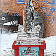 Wine Bottle Ice Sculpture Art Print