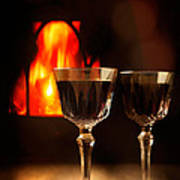 Wine By The Fire Art Print