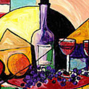 Wine Fruit And Cheese For Two Art Print