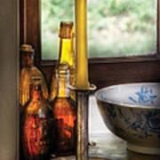 Wine - Nestled In A Corner Of A Window Sill  Print by Mike Savad
