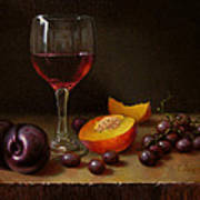 Wine Peach And Plums Art Print by Timothy Jones