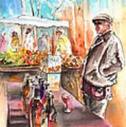 Wine Vendor In A Provence Market Art Print