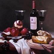 Wine With Peeled Apples Art Print