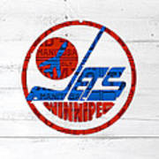 Winnipeg Jets Retro Hockey Team Logo Recycled Manitoba Canada License Plate Art Art Print