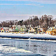 Winter At Boathouse Row In Philadelphia Print by Simon Wolter