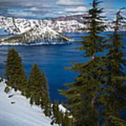 Winter At Crater Lake Art Print