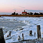 Winter At East Point Lighthouse  Art Print
