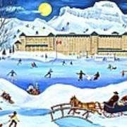 Winter At Lake Louise Chateau Art Print