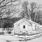 Winter At The Amish Schoolhouse - Bw Art Print