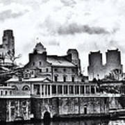 Winter At The Fairmount Waterworks In Black And White Art Print