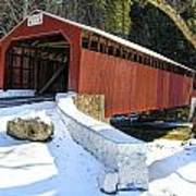 Winter At The Little Gap Covered Bridge Art Print
