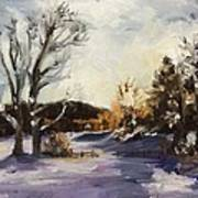 Winter At The River House Art Print