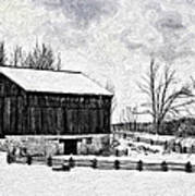 Winter Barn Impasto Version Art Print