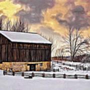Winter Barn - Paint Art Print