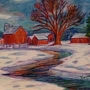 Winter Barn Scene Art Print