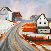 Winter Barns Art Print