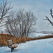 Winter Bench At Walnut Creek Lake Art Print