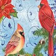 Winter Blue Cardinals-joy Card Art Print