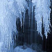 Winter Blues - Frozen Waterfall Detail Art Print