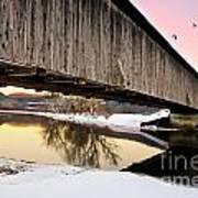 Winter Bridge Geese At Sunset Art Print