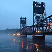 Winter Bridge In Fog Art Print