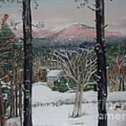 Winter - Cabin - Pink Knob Art Print