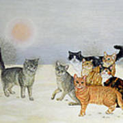 Winter Cats Art Print by Ditz