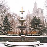 Winter - City Hall Fountain - New York City Art Print