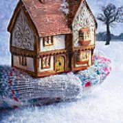 Winter Cottage In Gloved Hand Art Print