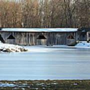 Winter Covered Bridge Art Print by Jennifer  King