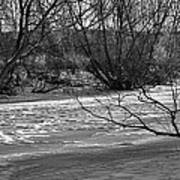 winter day BW-Black and white presentation of Snow on a frozen creek south  Art Print